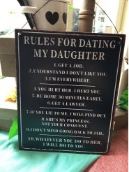 Rules For Dating My Daughter Metal Sign